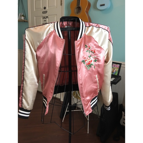 9d973ea1f83 Pink and White Floral Bomber Jacket